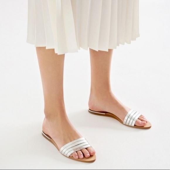 NWOT Zara silver metallic strappy slide sandals 37